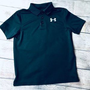 EUC Boys sz S Black Under Armour Polo Shirt